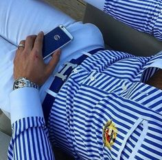 But... Hermes Men, Mens Hermes Belt, Mens Suits 2017, Well Dressed Men, Sharp Dressed Man, Black Tie, Black Suits, Nautical Stripes, Blue Stripes