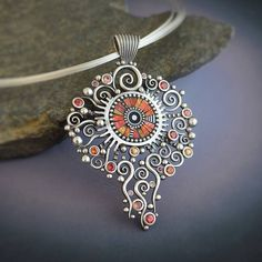 Greenscape Silver and Polymer Pendant by LizardsJewelry on Etsy