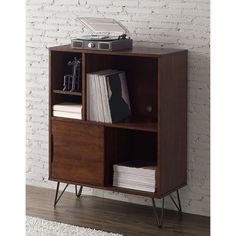 Enrich your home with mid-century modern design with this Retro Clifford Media Bookshelf Console. Featuring curved metal legs, sliding doors, and open shelving, this gorgeous piece is finished in a ri Retro Bookcases, Bookshelves, Wood Doors Interior, Furniture, Furnishings, Dining Room Walls, Mid Century Modern Bookcase, Record Table, Retro