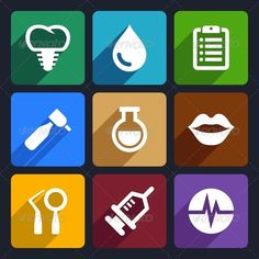 Dental Flat Icons Set 10  #GraphicRiver         Dental flat icons set for Web and Mobile Applications     Created: 20November13