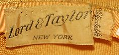 """[label] """"Lord & Taylor, N.Y."""", late 1930's"""