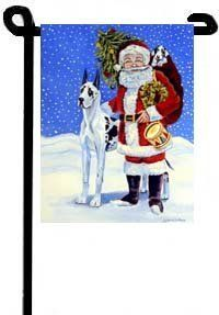 "Santa Claus and Great Dane - 11"" x 15"" Garden Flag by flagline. $12.85. 11"" x 15"". Double Sided. The Garden size flag is made from a 100% polyester material. Two pieces of material have been sewn together to form a double sided flag. This allows the text and image to be seen the same from both sides. This flag is fade resistant and weather proof. The flag measures approximately 11 inches x 15 inches (garden stand sold separately).  This is a new item, and can take fr..."
