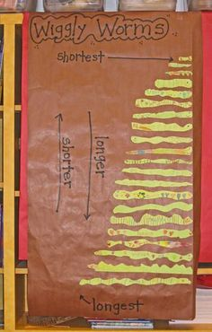 Measurement: Students place wiggly worms in order according to length. Pre-cut strips of green construction paper in various lengths and have the children pick a piece. They cut out and decorate their worms any way they want. Put them in order as a class. Measurement Kindergarten, Measurement Activities, Math Measurement, Preschool Math, Math Classroom, Kindergarten Math, Fun Math, Teaching Math, Math Activities