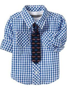 Patterned Shirt & Tie Sets for Baby   Old Navy