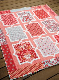 """I'm just popping in quick to show you a quilt that I finished. It's called Spanish Tiles and can be found in my """"Living Large 2"""" book. This is a more modern color pallet th…"""