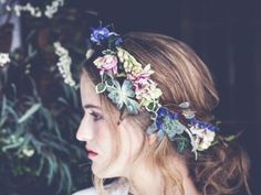 A loose style flower crown that looks like it could have come from a Renaissance painting