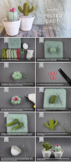 Make Your Own Felt Mini Cactus Plants - Lia Griffith - Must try these! Needle-Felted Mini Cacti Plants Best Picture For Cactus pink For Your Taste You a - Needle Felting Tutorials, Needle Felting Kits, Needle Felted Animals, Diy Wool Felt Animals, Christmas Needle Felting, Wool Felting, Mini Cactus Plants, Cactus Flower, Cacti