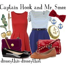 Captain Hook and Mr. Smee, created by disneythis-disneythat on Polyvore