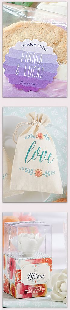 Dress up your favors with labels, tags, boxes, and bags!
