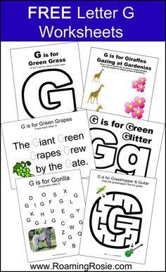 FREE Printable Letter G Alphabet Activities Worksheets at RoamingRosie.com