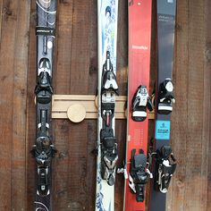 Install a ski wall mount for easy and convenient ski equipment storage! Shop our wide variety of sporting equipment storage rack options now at CozyWinters. Tool Storage, Garage Storage, Storage Ideas, Storage Racks, Garage Shelving, Garage Organization, Storage Solutions, Ski Rack, Yard Tools