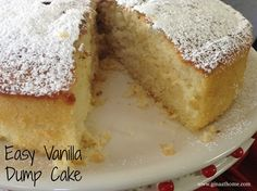 This is my vanilla dump cake recipe. It's been a staple around my house for years. I started using it years ago when I was making cakes professionally and it is a winner. Dump cakes in general are pretty easy, but I love this one because it is so moist and flavorful. I have a demo video of me making the dump cake on my website. This vanilla dump cake recipe is so easy I can make it as fast as I can make a box cake.