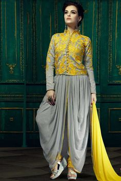 Grey Georgette Trouser Suit With Dupatta  Grey Georgette, semi stictch trouser suit. Allover embroidered with embroidered, zari and stone work.  Chinese collar, Ankle length, full sleeves kameez.   Grey satin trouser.   Yellow chiffon dupatta.  http://www.andaazfashion.co.uk/salwar-kameez/trouser-suits/grey-georgette-trouser-suit-with-dupatta-dmv13753.html