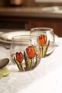 Duo de verres sans pied design tulipes oranges – Pero