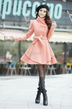 Cute pink coat with flare.