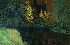 River in the forest. Autumn at river Istra. - Isaac Levitan