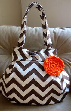 NEW Cinnamon Chevron Lily Bag by ThePlumPinCushion on Etsy, $48.00