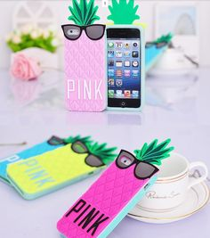 iPhone 6, 6 Plus, 5/5S - Funky 3D Pineapple with Cool Shades Soft Case in Assorted Colors - Thumbnail 3