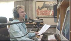 Barry Manilow in the studio - notice the poster on the wall next to him.