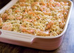 """Paula Deen's Shrimp Spaghetti. I would cut down on the butter by half and use parmesan instead of """"processed"""" cheese."""