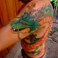 We provide amazing images of anime tattoo designs that you will surely love! We also delve deep into the anime world to find out why various people have anime tattoos inked onto their bodies. Gamer Tattoos, Anime Tattoos, Trendy Tattoos, Tattoos For Guys, Tatoo 3d, Z Tattoo, Body Art Tattoos, Shen Long Tattoo, Mangas Tattoo