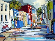 Well-known South African artist, Carla Bosch, depicts a street scene of Bo-kaap, Cape Town. It is a quaint town with a palette of it's own ...