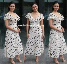 Alia Bhatt in Giambattista Valli Western Dresses, Western Outfits, Alia Bhatt, Nude Heels, Giambattista Valli, Pink Polka Dots, Pink Lips, Dot Dress, Minimalist Fashion