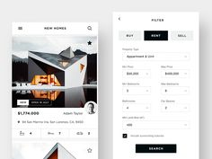 Real Estate App Ui - Home & Filter designed by Daniel Tan. Connect with them on Dribbble; Web Design, App Ui Design, User Interface Design, Graphic Design, Mobile App Design, Mobile App Ui, Filter Design, Ui Design Inspiration, Applications