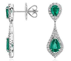 Pear-Shaped Emerald and Diamond Dew Drop Earrings in White Gold Buy Diamond Ring, Diamond Drop Earrings, Emerald Earrings, Emerald Jewelry, Gemstone Earrings, Emerald Diamond, Diamond Gemstone, Monique Lhuillier, Hanging Earrings