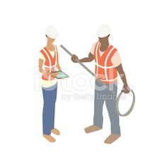 Man and woman construction workers royalty-free stock vector art
