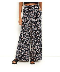 Floral Wide Leg Trousers - Black pattern New Look u5AyTESj