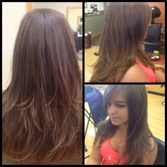 Long layered; long side swept bangs, color: low light panels for natural depth throughout
