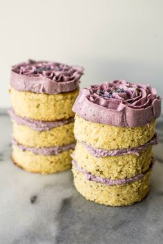 Mini lavender, champagne, and hazelnut cakes