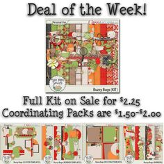 This week's Deal Of The Week by Rebecca is called Buzzy Bugs. You can pick up the Collection at a 50% discount, valid until February 12, 2013!  Offers available at GottaPixels; http://www.gottapixel.net/store/manufacturers.php?manufacturerid=161, Twin Mom Scraps SHOP; http://twinmomscraps.com/index.php?main_page=products_new GingerScraps; http://store.gingerscraps.net/Twin-Mom-Scraps/ and MyMemories; http://www.mymemories.com/store/designers/Twin_Mom_Scraps. 06/02/2013
