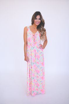 Dottie Couture Boutique - Pink Printed Tie Front Maxi , $52.00 (http://www.dottiecouture.com/pink-printed-tie-front-maxi/)