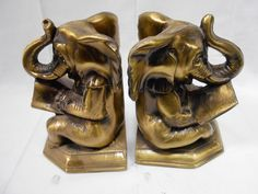 Elephant Reading Cast Metal Book Ends Trunk Up Set of 2 Collectible