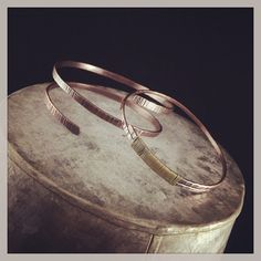 Dave's #hammered #copper #bangles. One with brass wire wrap. #handmade