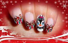 Cute Xmas Penguin Nails - tutorial nail art pinguino natalizio cuccioloso