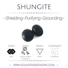 Metaphysical Healing Properties of Shungite, including associated Chakra, Zodiac and Element, along with Crystal System/Lattice to assist you in setting up a Crystal Grid. Go to https:/wwwsoulsistersdesigns.com to learn more!