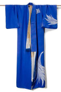 Hand Painted Blue Silk Kimono Robe with delicious drape