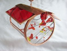 Bird feeders stained glass and copper sunflower seed suet holder red orange yellow
