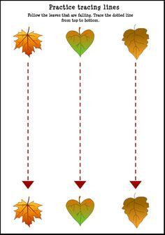 Fall-Leaf-Tracing-Lines-Worksheet-For-Kids – Crafts and Worksheets for Preschool,Toddler and Kindergarten Fall Preschool Activities, Preschool Writing, Preschool Printables, Preschool Worksheets, Preschool Crafts, Crafts For Kids, Toddler Crafts, Autumn Crafts, Fine Motor