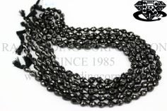 Black Spinel Faceted Drops (St. Drill) (Quality AA) Shape: Drops Faceted Length: 36 cm Weight Approx: 26 to 28 Grms. Size Approx: 6.5x8.5 to 7x10 mm Price $20.40 Each Strand