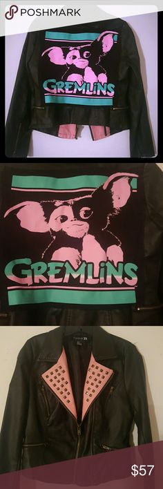 Diy studded gremlins jacket Diy faux leather jacket Cut up a gremlins tee and hand sewn on the back.  Studded front. Never worn. Just never wear pink.  Cute Gremlins Gizmo Hot topic Goth  Punk  Metal  Skulls  Unif Dollskill Forever 21 Jackets & Coats