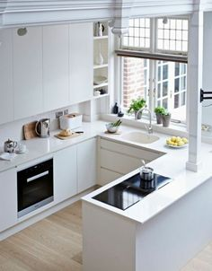 Small U-shaped kitchen with white modern cabinetry