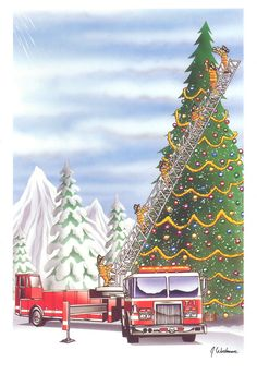 Fireman / Firefighter Christmas Cards - X-774 - One (1) Pack of 10 Cards & Envs. #Christmas