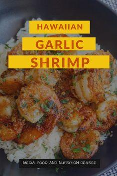hawaiian food recipes HAWAIIAN GARLIC SHRIMP Succulent prawns cooked in a garlicky rich sauce, this Hawaiian Garlic Shrimp is much the same as the shrim Shrimp Recipes Easy, Seafood Recipes, Healthy Dinner Recipes, Cooking Recipes, Seafood Dishes, Shrimp Truck Recipe, Hawaiian Garlic Shrimp, Hawaii Garlic Shrimp Recipe, Lemon Garlic Shrimp