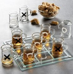 Tic Tac Toe Drinking Shot Glass Set - $14