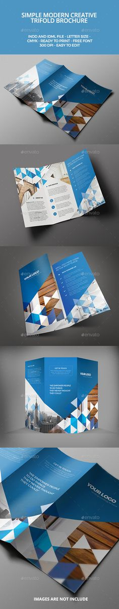 Modern Trifold Brochure — InDesign INDD #clean #green • Available here → https://graphicriver.net/item/modern-trifold-brochure/9755828?ref=pxcr