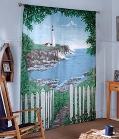 By The Sea Window Art Mural Curtains Lighthouse Beach Drapes Decor Scene Bedroom #SaturdayKnight